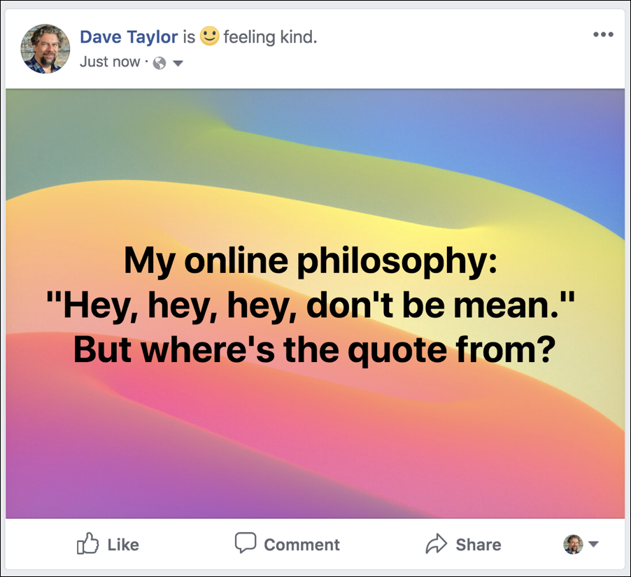 facebook post, with colorful background