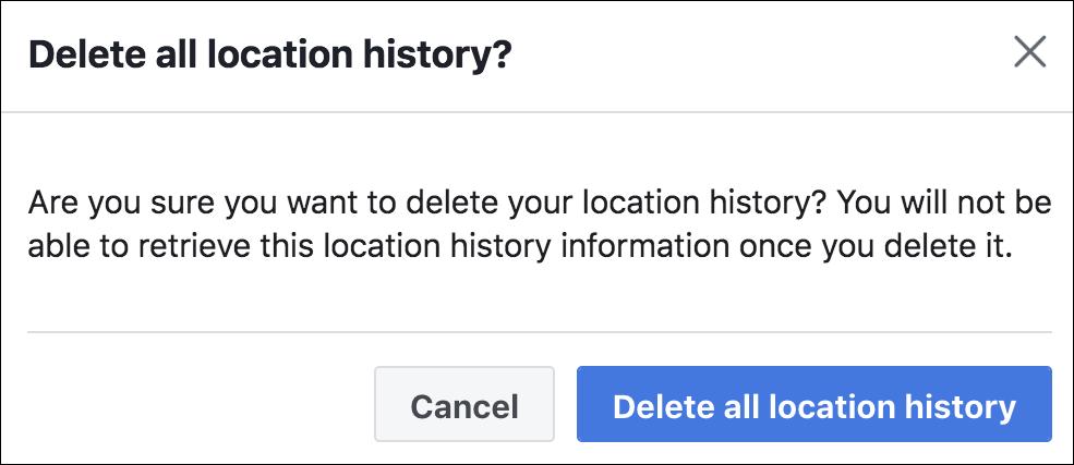 facebook delete location history?