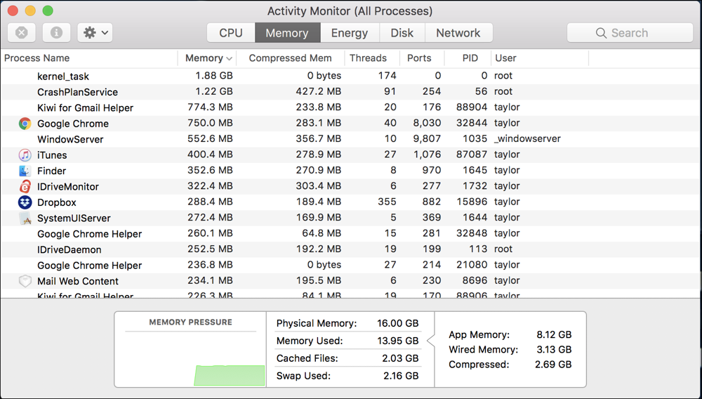 mac activity monitor - by memory