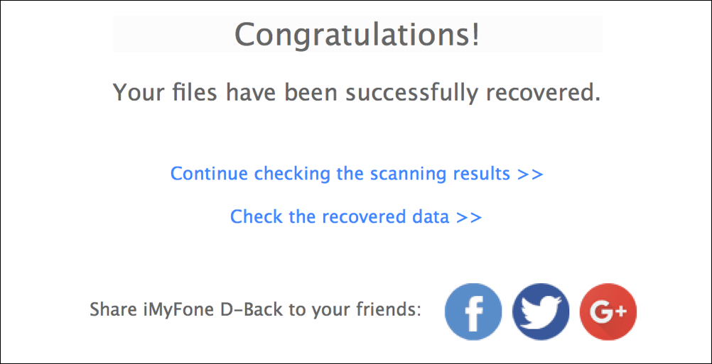 congratulations - file recovered imyfone d-back