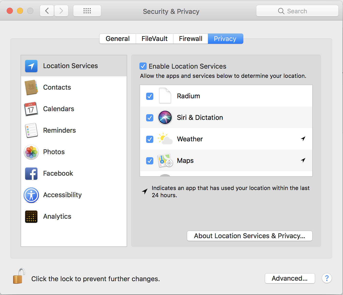 macos x location services privacy