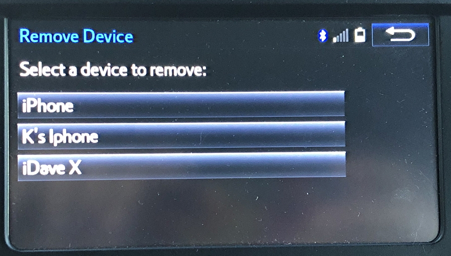 Toyota Bluetooth Remove Pairing