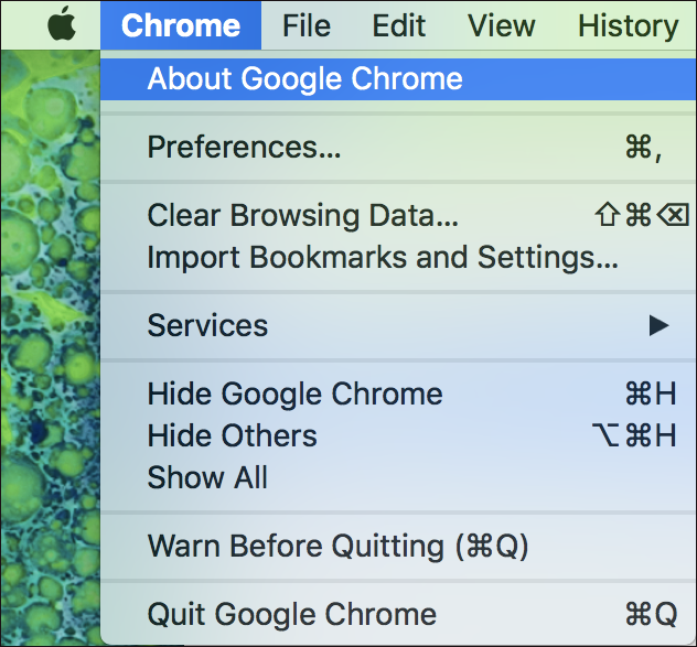 mac - about google chrome