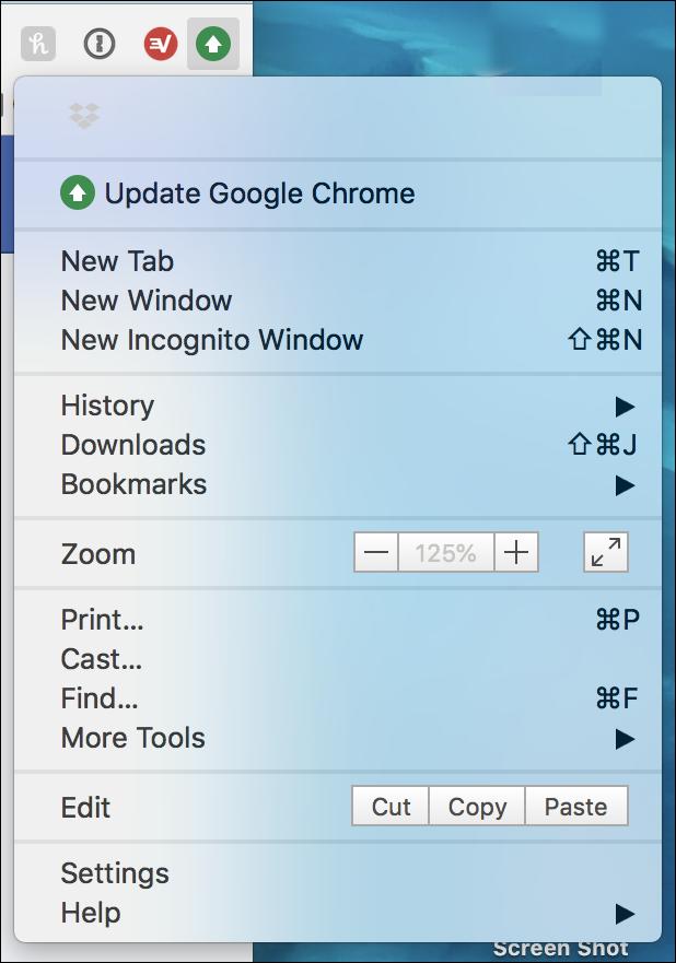 google chrome menu - update available