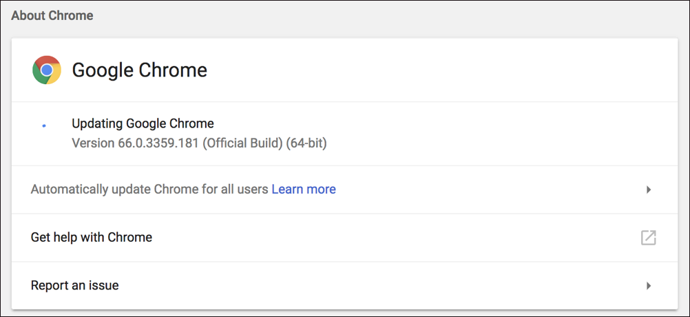 google chrome force update version