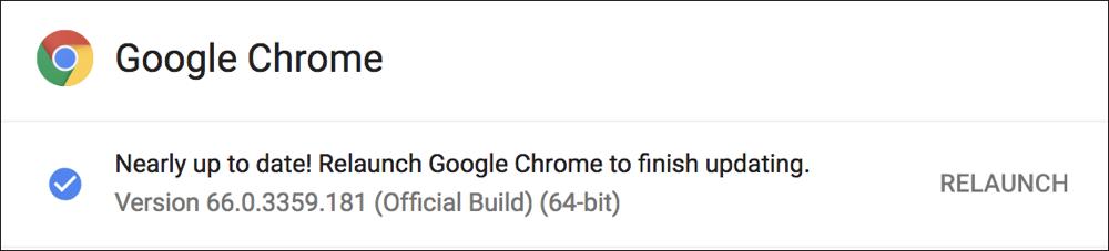 new version google chrome - restart