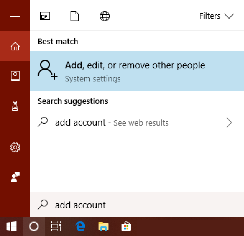 win10 search 'add account'