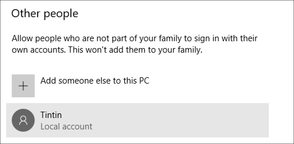 new user account created, win10