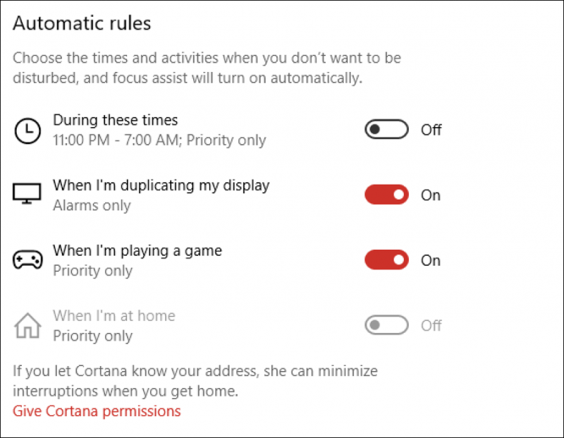 windows win10 focus assist settings preferences