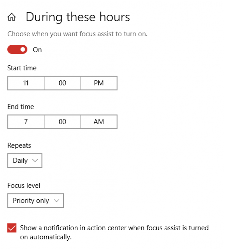 focus assist by time win10