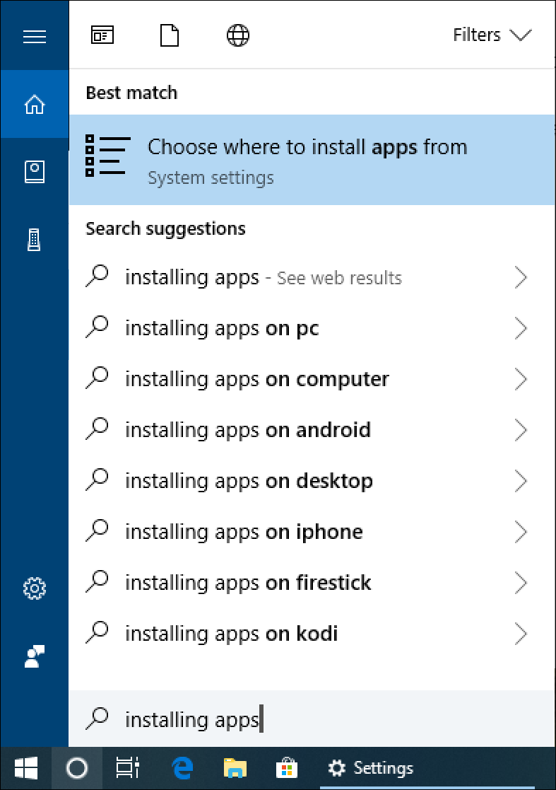win10 search 'install apps'