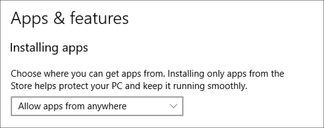 win10 app install security settings