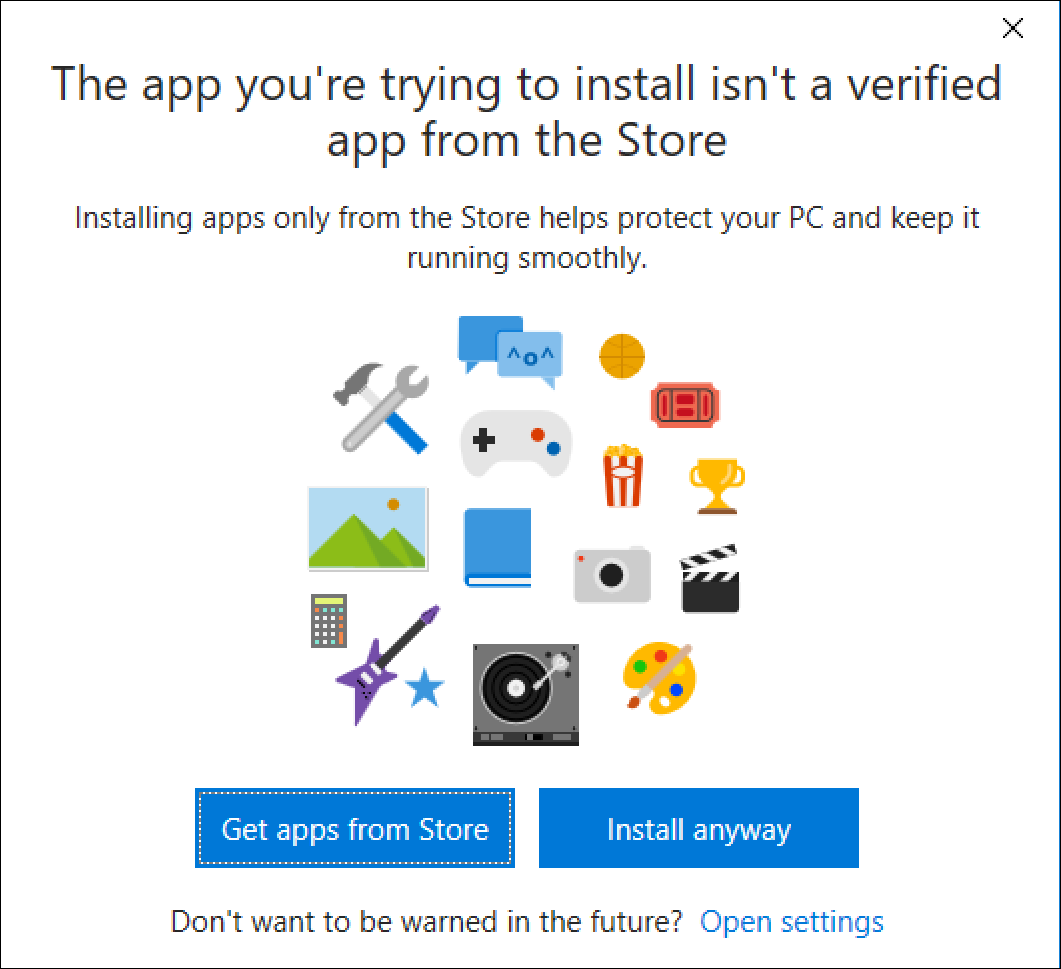 warning: app not from store. Proceed with install? win10