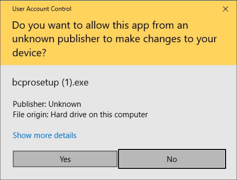 grant permissions to install app? Windows 10
