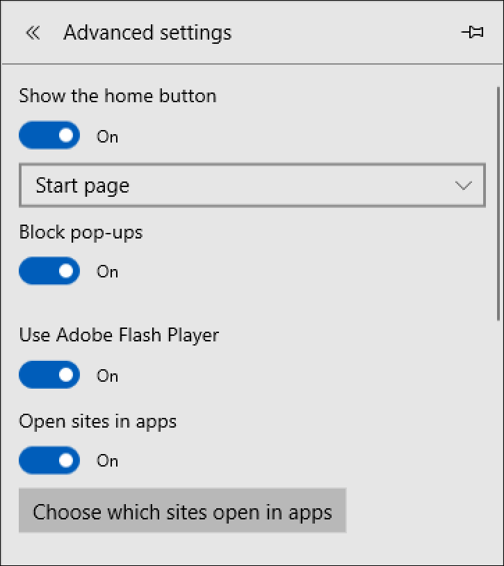 microsoft edge advanced features menu settings