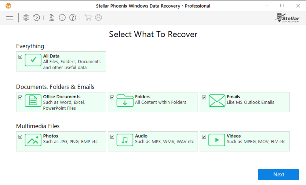 stellar phoenix windows data recovery main screen