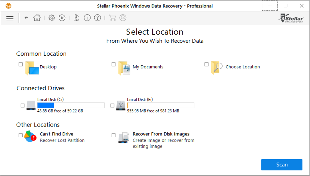 stellar phoenix windows data recovery choose device