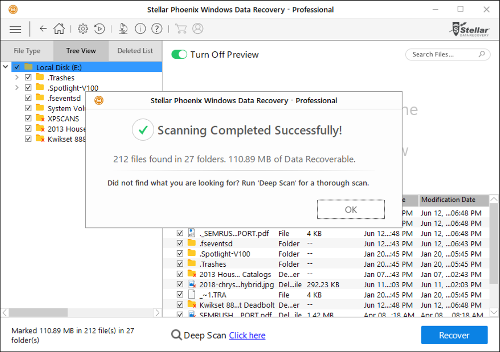 stellar phoenix windows data recovery scan complete recovery ready files
