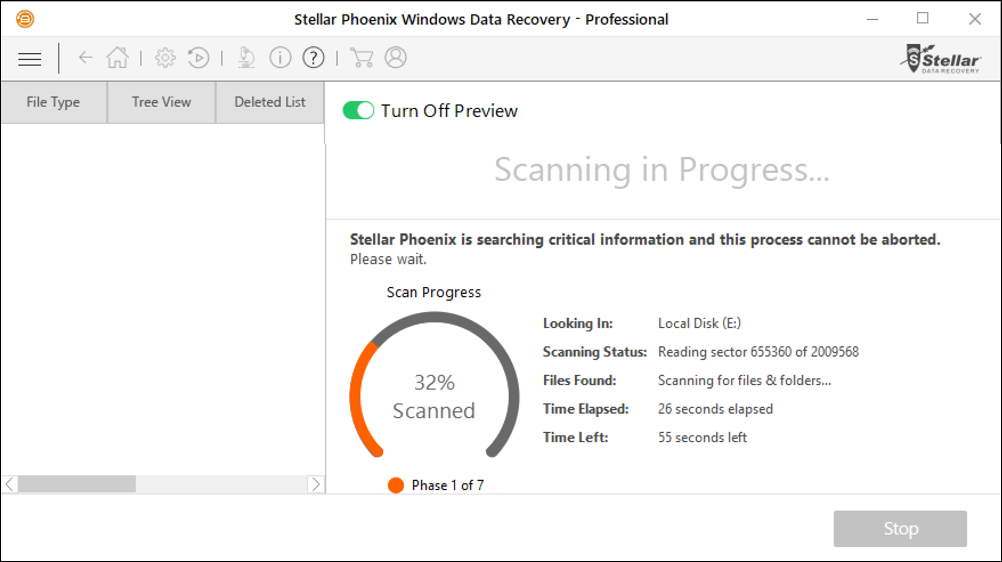 stellar phoenix windows data recovery deep scan