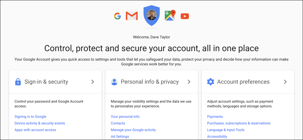 myaccounts google accounts home page