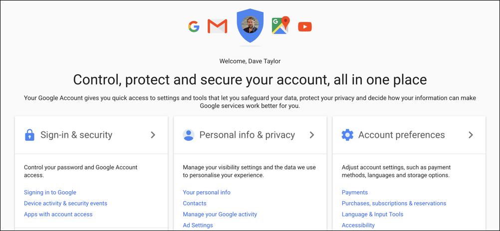 myaccounts google accounts home page