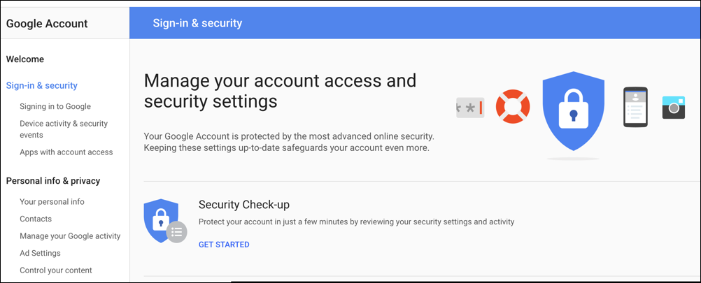 google accounts > sign in and security