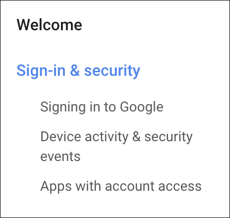 google account > security and sign-in > menu