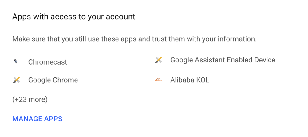 apps with access to your google account