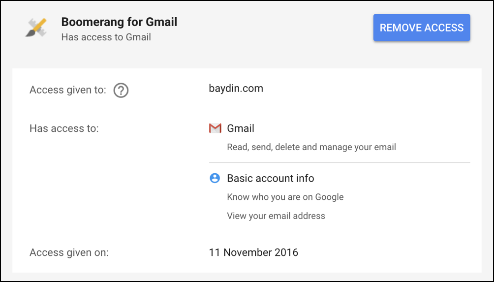 boomerang for gmail has access to my gmail messages