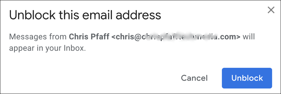 unblock this email address - gmail