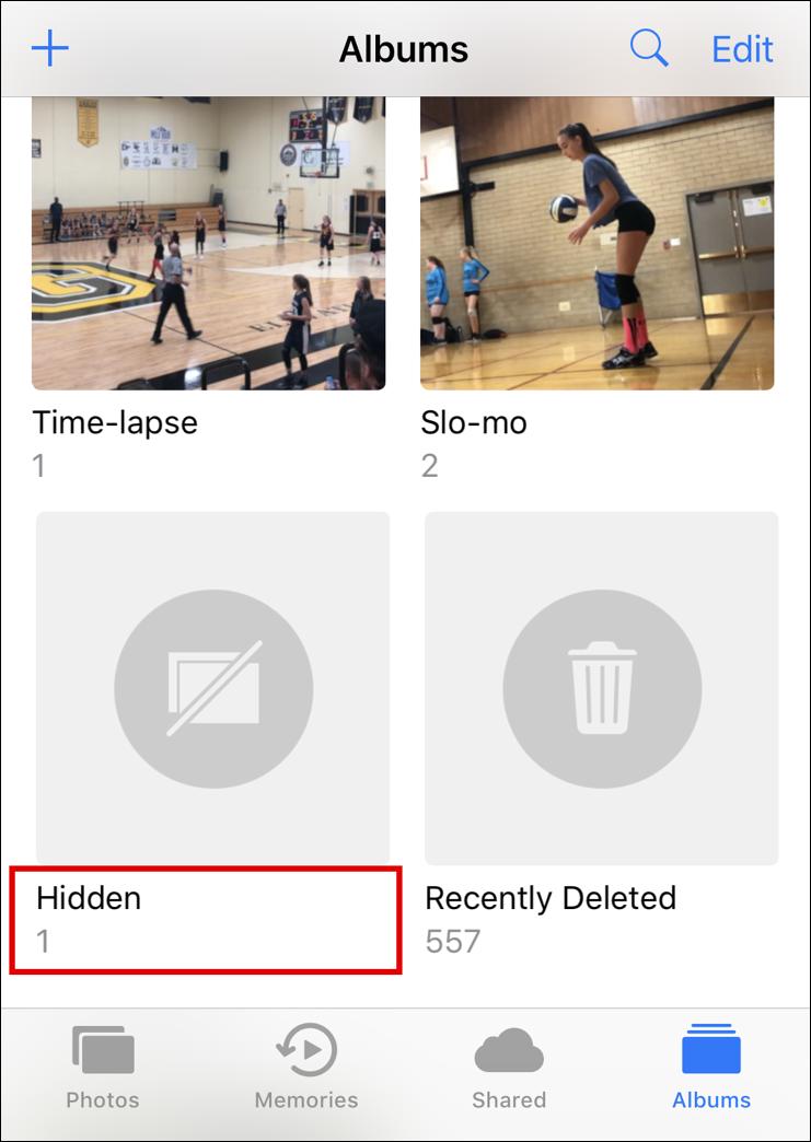 "photos iphone ios ""hidden"" album"