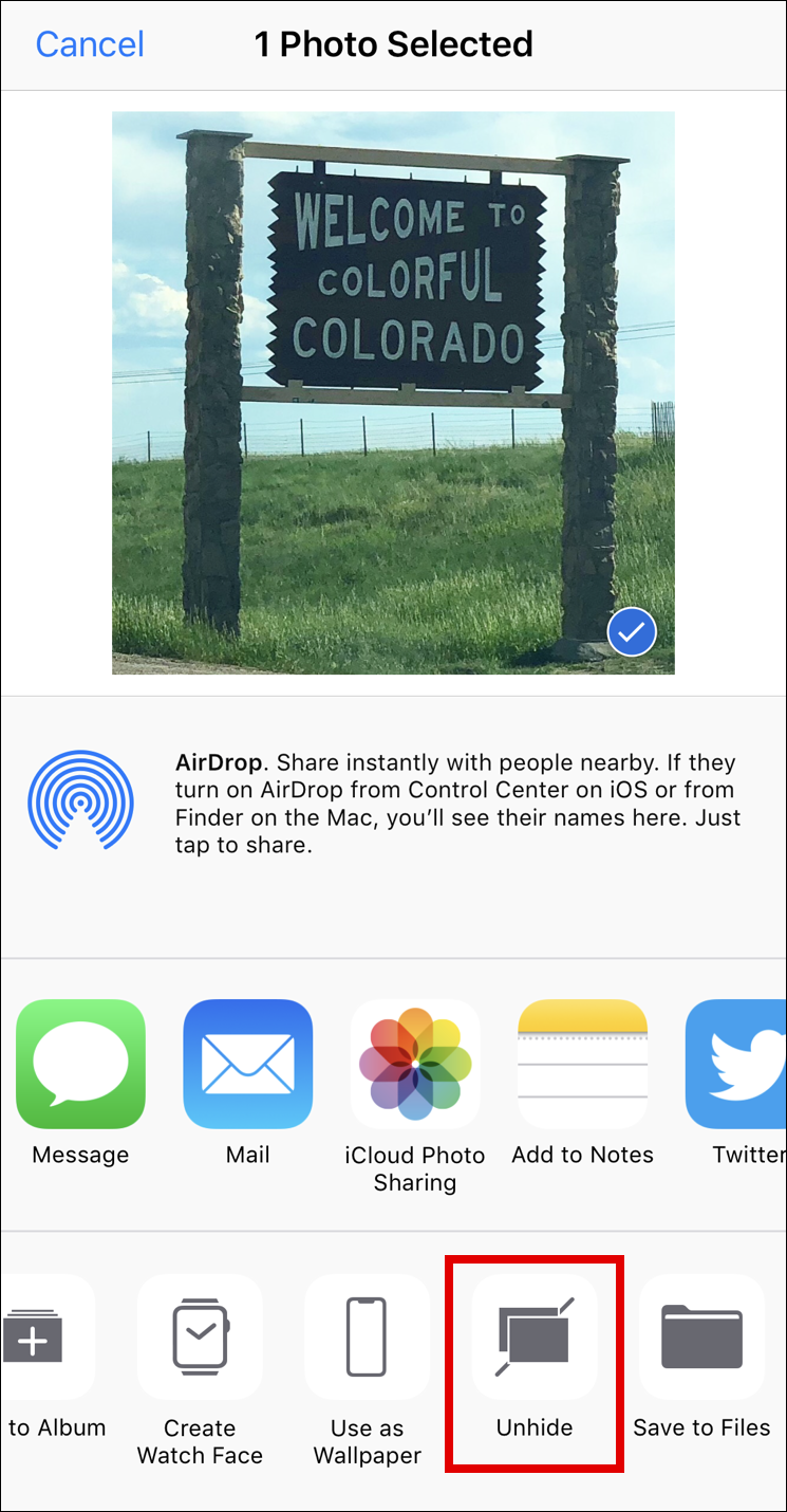 unhide photo, camera roll, photos, ios11 iphone