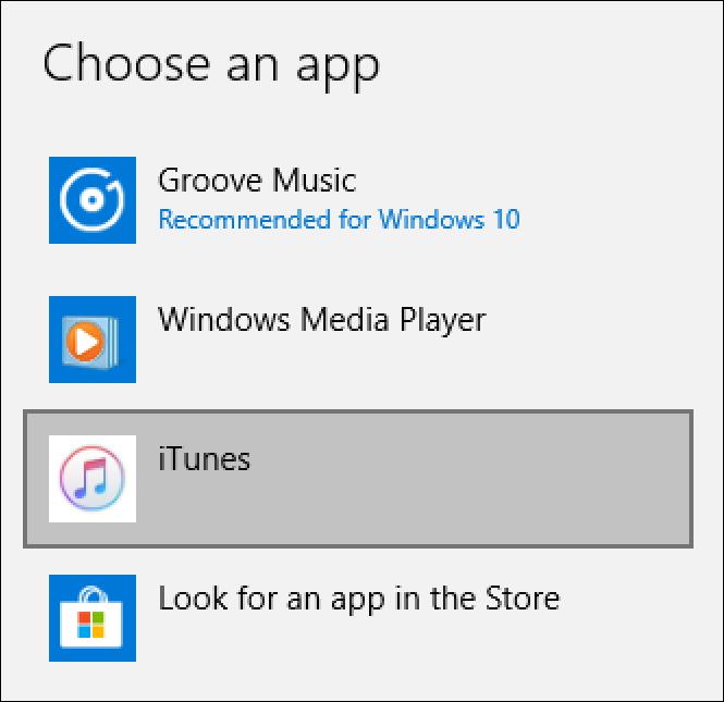 choose default music app, windows 10