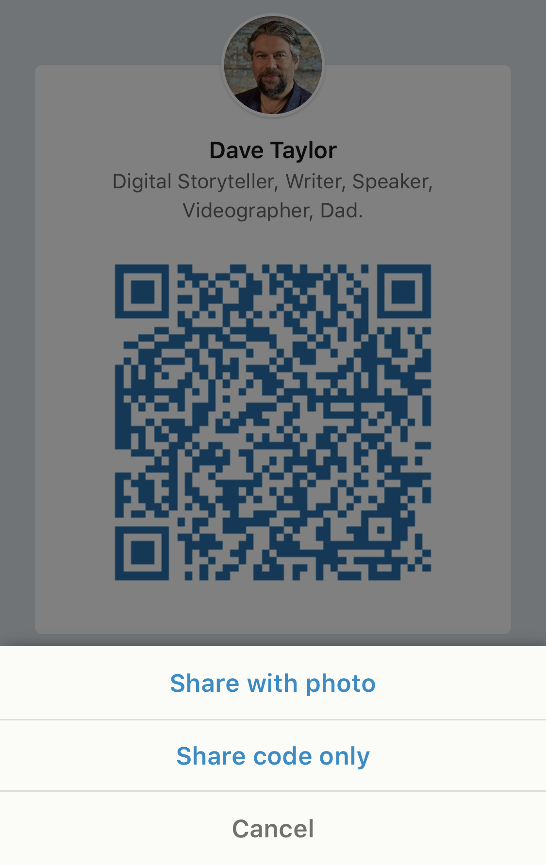 linkedin code qr share with photo