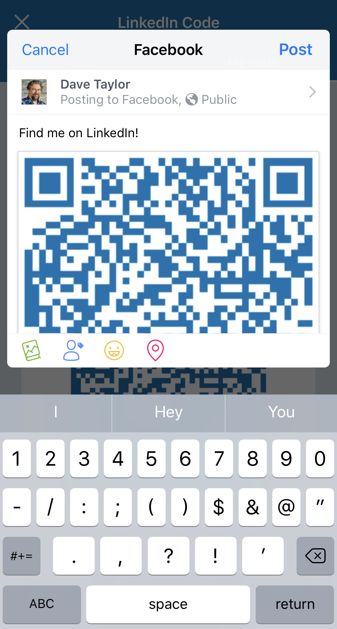 sharing LinkedIn Code QR on Facebook from iphone