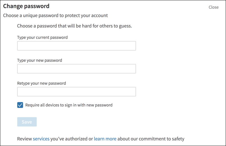 linkedin change password