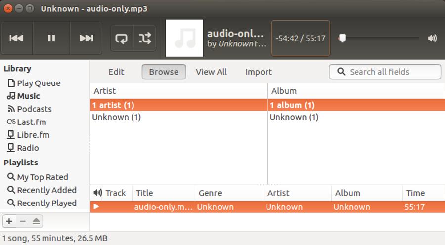 linux rhythmbox mp3 play