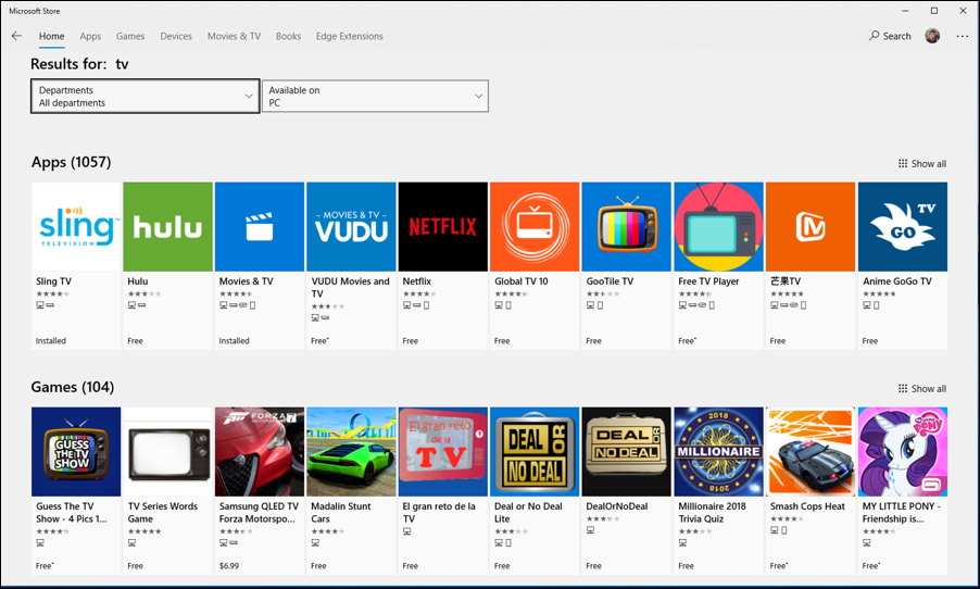 tv options through microsoft store