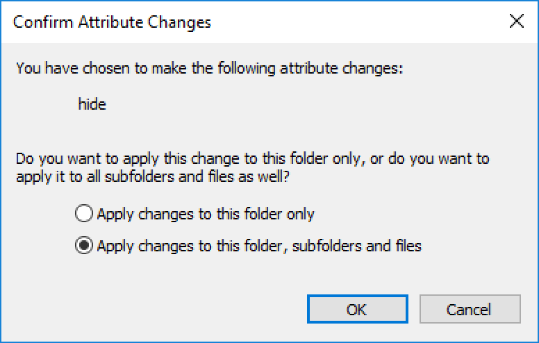 """hide"" apply to contents of folder? windows 10"