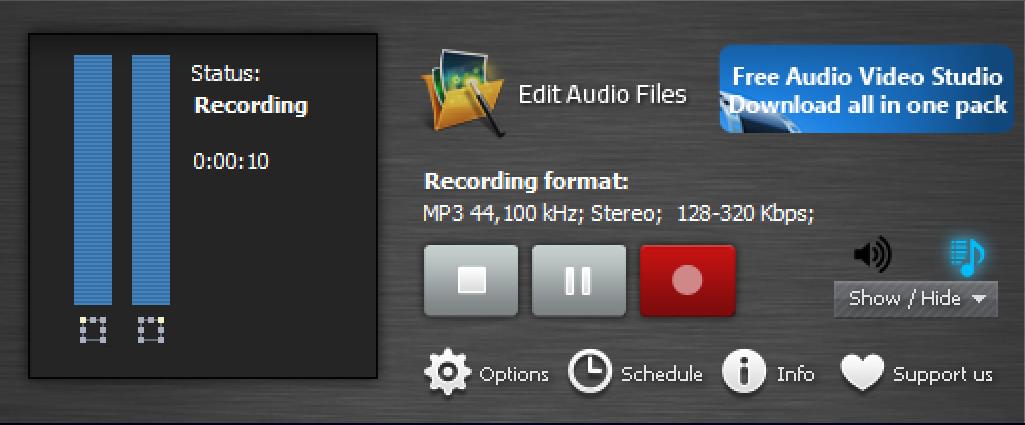 recording audio stream, windows 10
