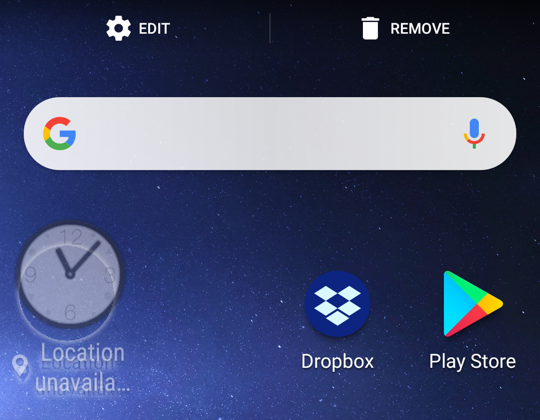 tap and drag uninstall remove android app widget