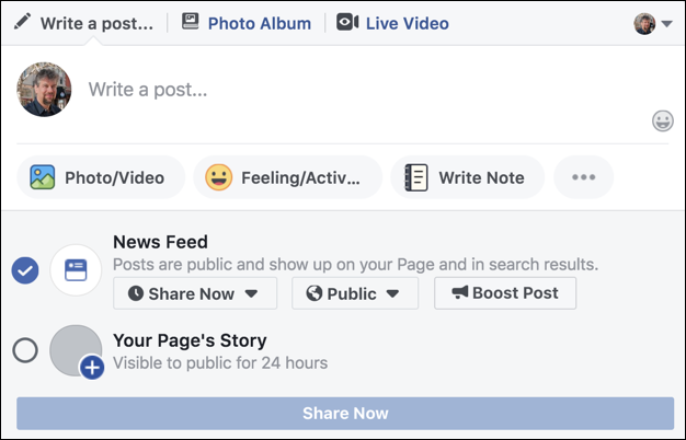 facebook business page post - news feed / page story
