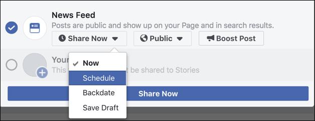 share now / schedule facebook post