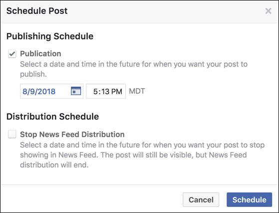schedule facebook post