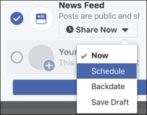 how to schedule facebook news feed post