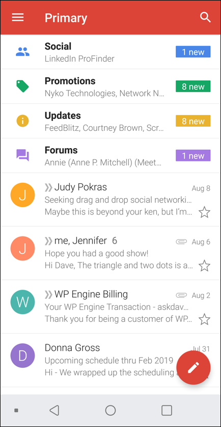 gmail android vertical orientation inbox