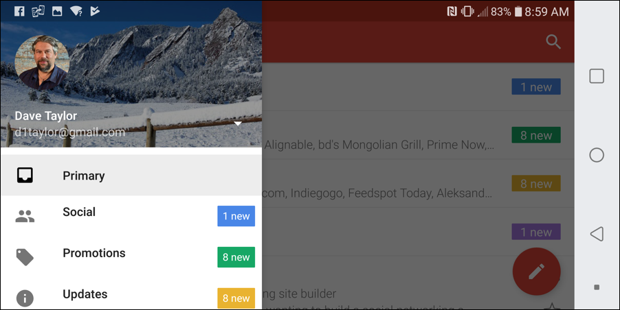 gmail android - main menu