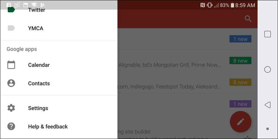 gmail for android - settings menu