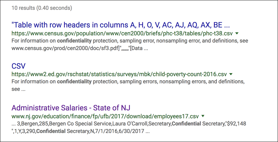 results for 'confidential' google search