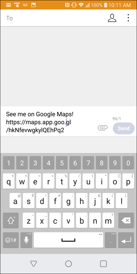 sharing location text message google maps